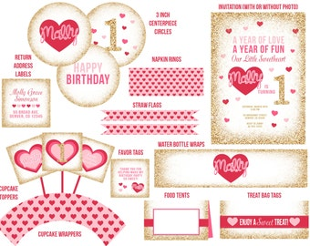 Sweetheart Pink and Gold Ultimate Party Package - Printable