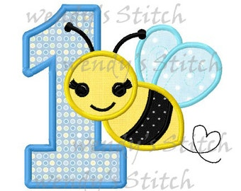 Bumble bee applique birthday number 1 machine embroidery design instant download