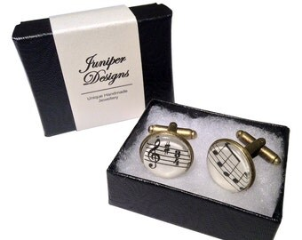 Handcrafted Sheet Music Cufflinks - Great Birthday or Christmas gift for a musician - Free UK Shipping