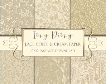 """Lace digital paper -""""Lace paper"""" patterns -Coffee & Cream- lace backgrounds -Printable Lace scrapbook papers - Ivory / Ecru wedding lace"""