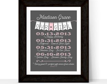 Personalized adoption gift ideas - gifts for baby girl adoption art - pink and gray custom nursery art - print or canvas - adoption day