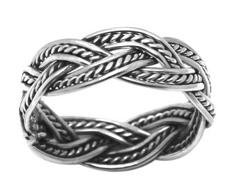 925 Sterling Silver Braided Oxidize Antique-Finish Band Ring