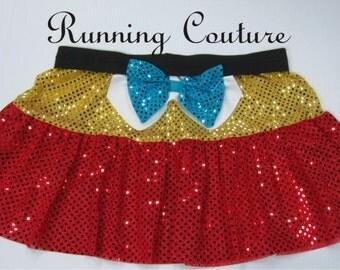 Tweedle Dee and Tweedle Dum inspired two tier sparkle misses running skirt