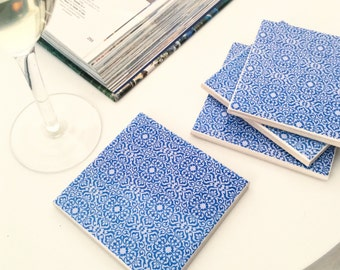 Ceramic Tile Coasters - Blue Morrocan