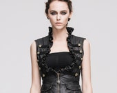 Steampunk Women Leather Vests Brush Color Thoracotomy Waistcoat