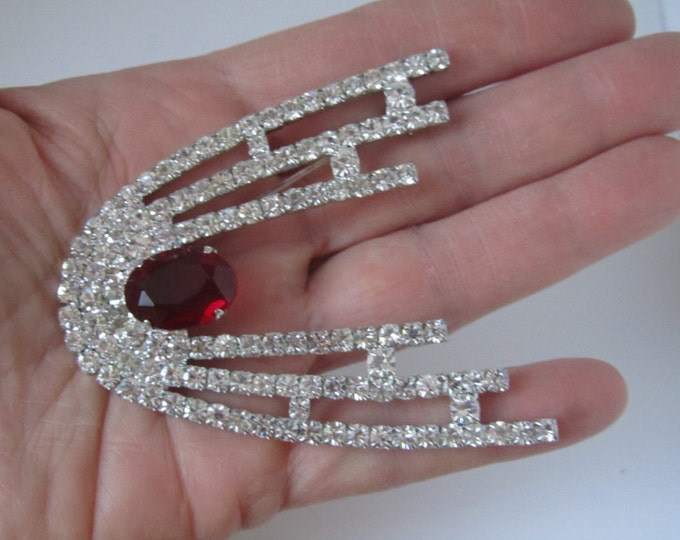 Large Rhinestone Brooch Pin Czechoslovakia Silver Plated