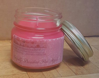Soy Candle - Sinfully Decadent Red Apple - Scented Soy Candle - Mason Jar Soy Candle - Hand Poured Soy Candle - 8 oz Candle - Pink Candle