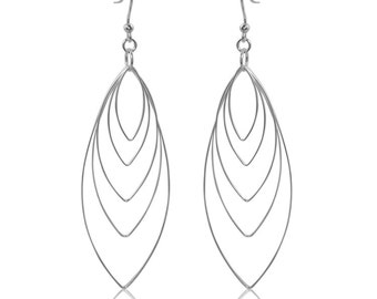 Sterling Silver Free Falling Marquise Dangle Earrings/.925 Shoulder Duster Wire Earrings/Multi-Marquise/Long Earrings/Long Dangle Earrings