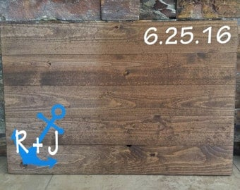 Wooden Pallet Rustic Anchor Nautical Wedding Guestbook Alternative Unique Guest Book