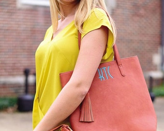 Monogrammed Luxe Shoulder Tote