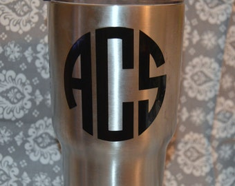Monogram, Vinyl, cup, decal, yeti, corksicle custom personalized gift