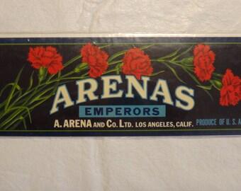 Original fruit crate label; Arenas Emperors