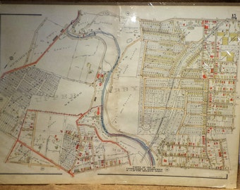 Vintage Map, Philadelphia Suburbs, Springfield Township, 1929, Historic City Planning, Antique Maps