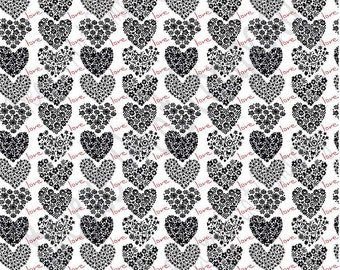 White with black and red floral heart craft  vinyl sheet - HTV or Adhesive Vinyl -  Valentine's Day HTV3904