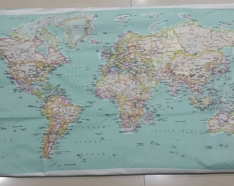 Vintage World Map, 100% Cotton Drill, 44.8 inches wide x 26 inches long