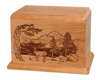 Natural Cherry Mule Deer Wood Cremation Urn