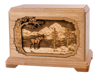 Oak Moose Hampton Wood Cremation Urn