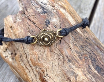 Handmade Double Waxed Cotton Friendship Bracelet | anklet | wristband, with Bronze-tone Floral Joiner.