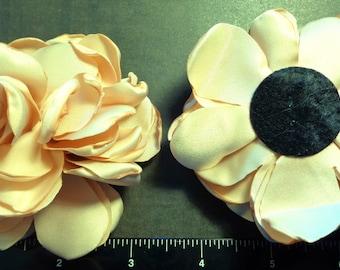 "1 Each 3.5"" Beige - Tan Singed Fabric Flower - Hair Bow Embellishment"