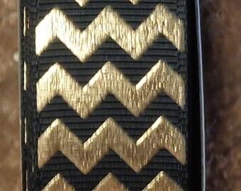 "2 Yards 7/8"" Black with Gold Chevron - Zig Zag Print - U.S. Designer"