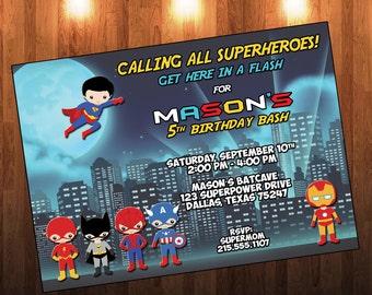 Superhero Invitation,Superhero Birthday Invitation,Super Hero Invitation,Superheroes Invite,Superhero Birthday Invite