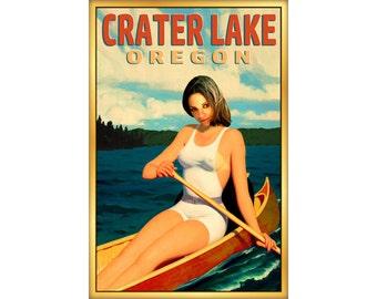 Crater Lake Oregon Travel Poster Canoe Mila Summer Boating Pin Up Art Print 273