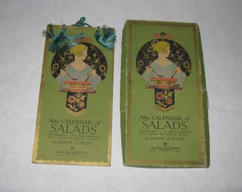 Vintage art deco New Calendar of Salads recipe cookbook wall hanging