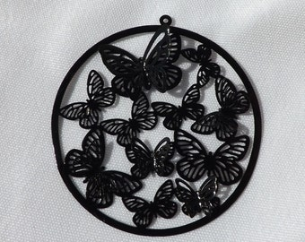 Black Butterfly Filigree Pendant