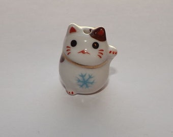 Large Porcelain Cat Bead - Winter - Maneki Neko - Beckoning Cat, Lucky Cat