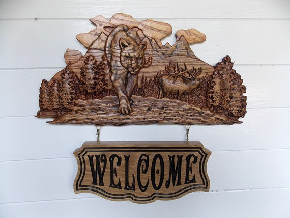Rustic Cabin Wall Decor : Elk welcome sign rustic cabin decor wood wall