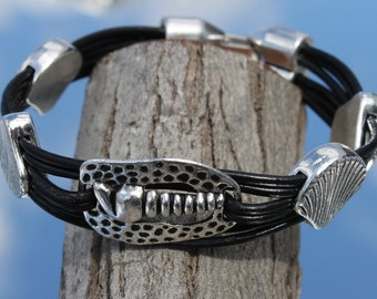 black leather Bracelet with metal shell