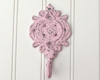 Pastel Pink Hook, Decorative Wall Hook, Ornate Hook, Distressed Wall Hook, Pink Wall Decor, Single towel hook, Jewelry Hook, Cast Iron Hook