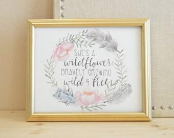 Boho Art Print - She's a Wildflower Art Print - Boho Inspired Wall Art - Watercolor Boho Art Print - Wildflower Art Print
