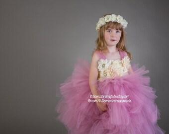 Dusty Rose Flower Girl Dress, Rose Pink Tutu Dress, Rose Tutu Dress, Vintage Flower Girl Tutu Dress, Dusty Rose Tier Layer Tutu Dress