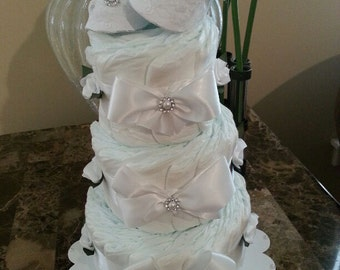 Three Tier White Diaper Cake with Decorative Booties