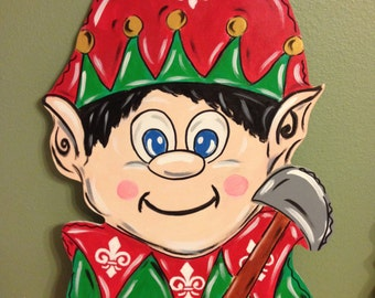 Elf Christmas Door Hanger, Santa's Helper