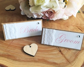 Wedding place name card, Rustic wedding, Vintage wedding, Shabby chic, lace wedding, Guest names, Place name