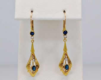 Antique Earrings .20ct. T.W. Sapphire, Diamond & Yellow Gold Dangles - J35822