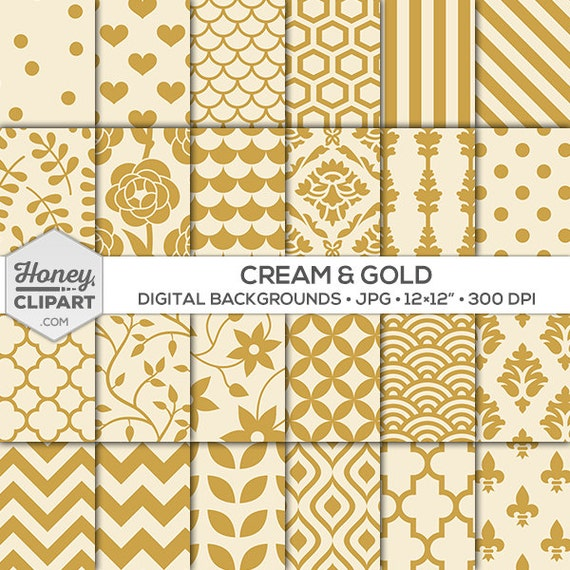 Digital Paper: Cream And Gold Printable Background Patterns