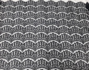 Thin and Soft French Style Eyelash Lace Fabric Off WHite/Black, 2 Yards