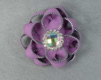 Purple Flower Brooch - Upcycled - Recycled - Repurposed - Flower Brooch - Zipper Brooch - Zipper Pin - Zipper Flower - Flower Pin - Jewelry