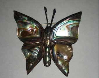 Vintage Abalone on Silver Butterfly Brooch