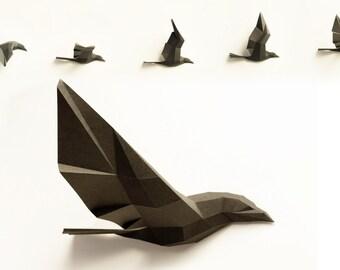 Papier Wolf vogel vlucht handwerk arc - 5 vogels aan de bebouwbare, Raven, kraaien, PREMIUM