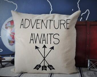 Adventure awaits pillow, arrow pillow, travel pillow, adventure pillow
