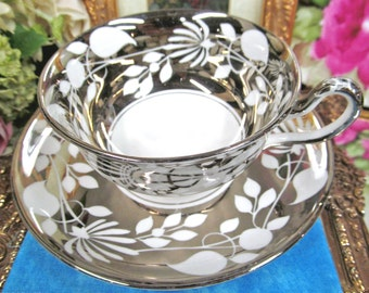 Royal chelsea tea cup and saucer platinum and white bone china pattern teacup