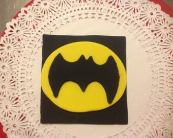 1 Batman Fondant Cake topper Decoration.  4 x 4 inches.