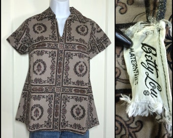 1950's Betty Lou maternity Smock blouse novelty Harp music Top looks size Small cotton Taupe brown gray rococo