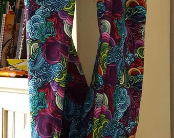 Sea Swirl vibrant single wrap infinity knit scarf.