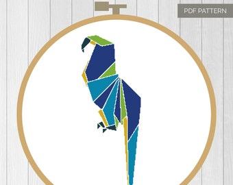 Origami Parrot cross stitch pattern 0rigami Series. Cross stitch animal. Modern cross stitch. Hoop art home decor quick rainforest bird