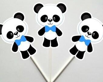 Panda Bear Cupcake Toppers, Bow Panda Cupcake Toppers